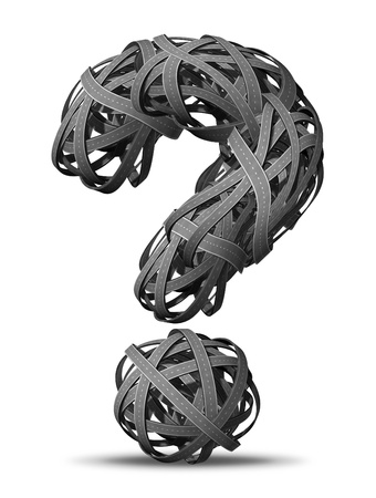 going nowhere: Asking for Directions going nowhere in business and life symbol as tangled bundeled roads and highways interlinked in the shape of a question mark  in a chaotic unclear complicated direction looking for answers. Stock Photo