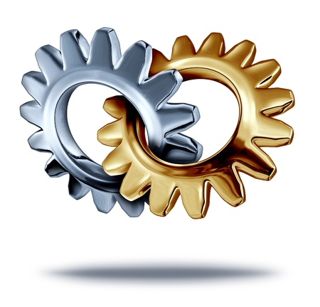 merging together: Business teamwork partnership concept with chrome and a gold metal gears or cogs connected together in the shape of a heart as a symbol of strategic corporate merger for a symbiotic relationship as a company team.