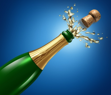Champagne celebration with splash and flying cork explosion as a symbol of success and party happiness for an important occasion like New year Stock Photo - 11718535