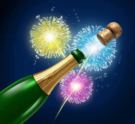 firework: Champagne fireworks display celebration with flying cork explosion as a symbol of cheerful event and party with happiness for an important occasion like New year Stock Photo