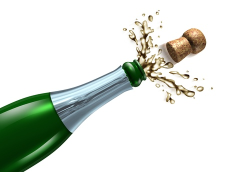 cork: Champagne with splash popping the cork and explosion as a symbol of celebration and party happiness for an important occasion like New year
