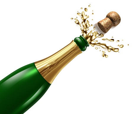 green glass bottle: Champagne with splash and flying cork explosion as a symbol of celebration and party happiness for an important occasion like New year