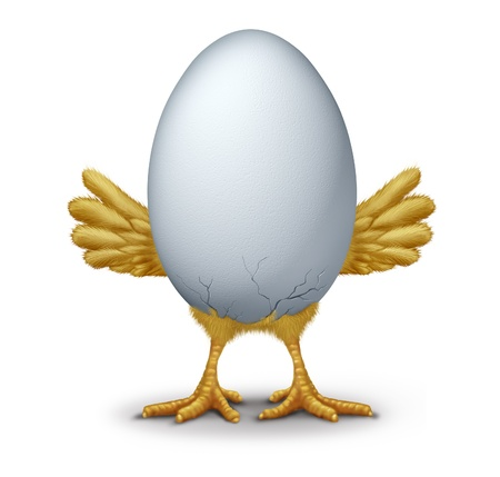 Early bird funny egg with humorous hatching baby bird chick breaking through the new  shell showing new life with little yellow wings and feet as a symbol of being first to arrive. Stock Photo