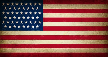 americana: Grunge USA Flag as an old vintage American symbol of patriotism and culture on an antique textured United States of America government and elections icon created to support the constitution and the bill of rights laws.