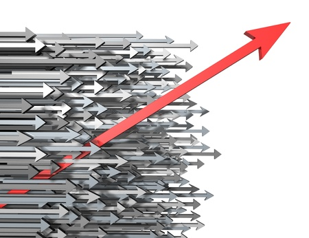 out of focus: Innovation growth and Success breaking through moving up and standing out from the crowd and aspiring with clear focus of a goal as a new diagonal red arrow leading the race with old horizontal grey arrows for competition achievement. Stock Photo