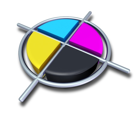 prepress: Polygraphic cmyk colors with chrome metalic cross featuring cyan magenta yellow and black symbol of four color printing and designer calibration of saturation and tonality of printed and digitaly broadcasted content. Stock Photo