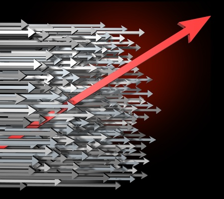 breaking through: Against the current with innovation growth and Success breaking through moving up and standing out from the crowd  with clear focus of a goal as a new diagonal red arrow leading the race with old horizontal grey arrows for competition achievement. Stock Photo