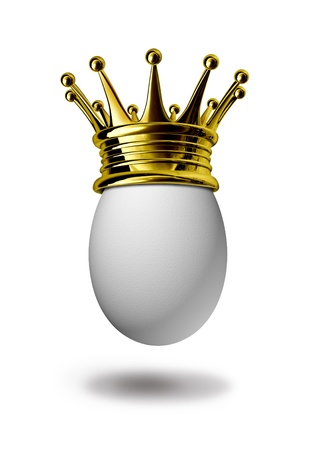 omelette: Breakfast of champions with a single grade a white egg and a golden crown showing the concept of best and most important meal of the day for health cuisine and healthy cooking and eating for the start of the day.