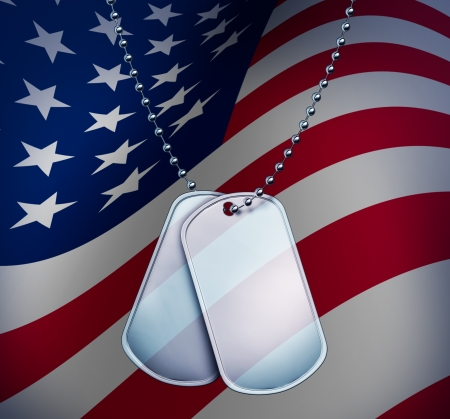 Dog Tags with a proud American Flag with blank metal and beaded necklace on red  white and blue symbol of the American military identification of soldiers for emergency medical attention for wounded and fallen heroes.