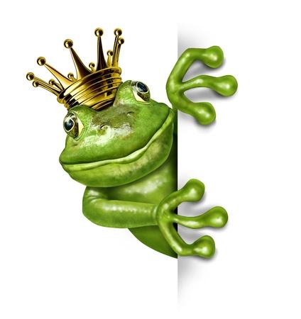 sapo: Rana pr�ncipe con corona de oro la celebraci�n de una se�al vertical en blanco en blanco que representa el concepto de cuento de hadas de cambio y la transformaci�n de un anfibio de la realeza comunicar un mensaje importante. Foto de archivo