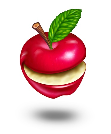 Healthy eating with a smiling natural funny happy ripe red apple fruit with green leaf from nature showing a fun fresh healthy lifestyle resulting in happiness and laughing with joy due to good health care diet. photo