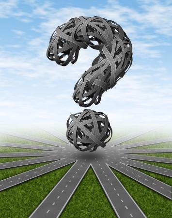 Navigatie en plaatsen om te reizen symbool te gaan met een netwerk van aangesloten wegen en een dimensionaal vraagteken gemaakt van verwarde verwarde snelwegen als een concept van vragen voor een routebeschrijving en GPS-piloot hulp.