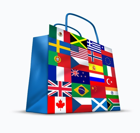 commerce communication: World trade and global commerce as an international symbol of business trading in exports and imports for the entire globe represented by a financial shopping bag with flags from many countries from around the earth. Stock Photo