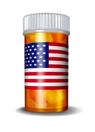generic drugs: Americano di assistenza sanitaria e sistema sanitario degli Stati Uniti con una bandiera USA su un'etichetta medicinale per una bottiglia di pillole su uno sfondo bianco come simbolo della politica del governo sul settore farmaceutico. Archivio Fotografico