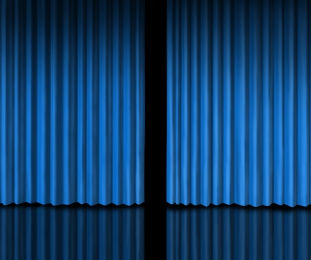 Behind The blue curtain sneak a peek into a future announcement on rumors of new products and movie performances at the theater or store opening with velvet drapes that are slightly opened to look inside private information. photo