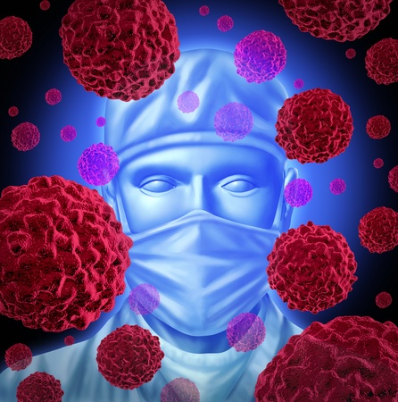 Cancer surgery  with a surgeon to operate on patients with common cancer treatment for breast cancer prostate cancer colon cancerous malignant red cells over the surgical masked doctor using chemotherapy and surgical removal of the disease.