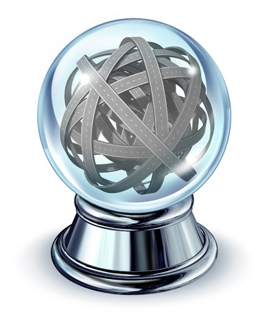 Challenging road ahead with a glass crystal ball sphere with tangled confused streets and a chrome metal base on a white background as a symbol of future challenges in business strategy and investment advice. photo