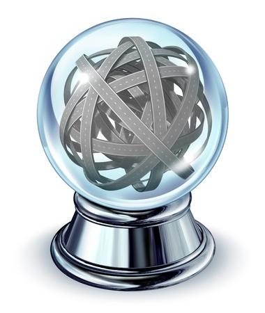 chrome base: Sfidare strada da percorrere con una sfera di sfera di cristallo di vetro con intricate strade confuse e una base in metallo cromato su uno sfondo bianco come simbolo delle sfide future nella strategia aziendale e di consulenza per gli investimenti.