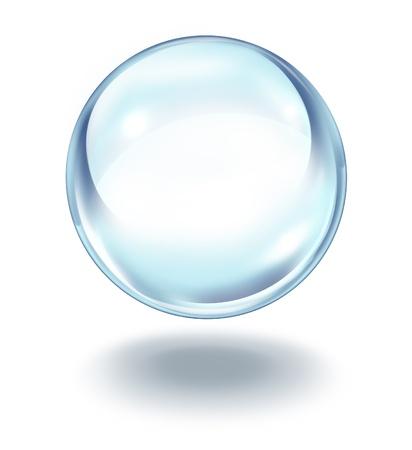 Kristallen bol in de lucht zweven als een transparante glazen bol op een witte achtergrond met een schaduw als een symbool van toekomstvisies en paranormale voorspellingen van wat komen gaat in financiën en persoonlijke fortuin. Stockfoto