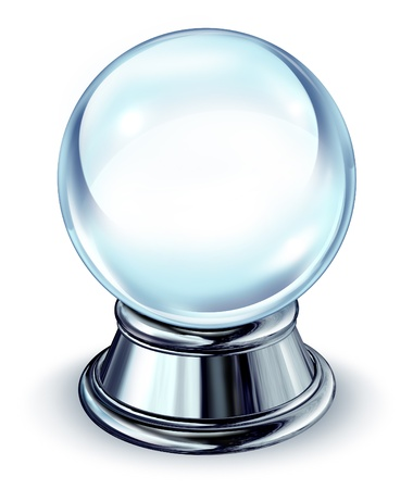chrome base: Crystal ball transparent glass sphere with a blank area and a chrome metal base on a white background with a shadow as a symbol of the future and paranormal predictions of things to come in finances and personal fortune. Stock Photo