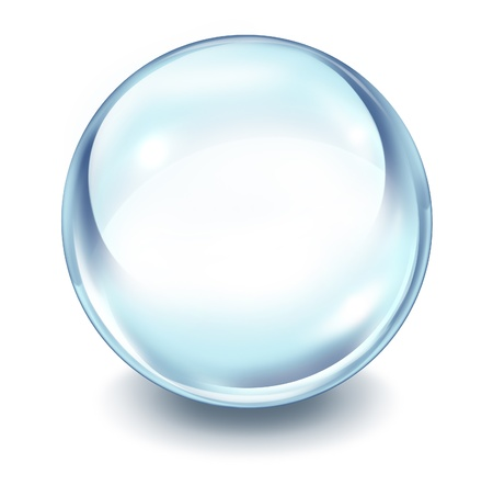 crystals: Crystal ball transparent glass sphere on a white background with a shadow as a symbol of the future and paranormal predictions of things to come in finances and personal fortune.