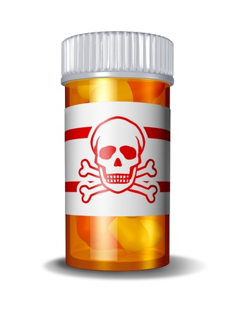 painkillers: Dangerous prescription drugs due to hazerdous overdose of pharmaceuticals resulting in poisoning deaths from overdoses of medications including painkillers anti-anxiety drugs and sleeping pills with a danger sign label on a pill button.