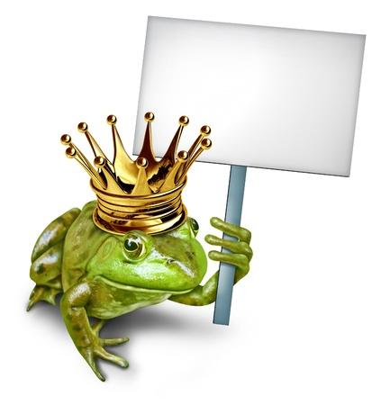 anthropomorphic: Frog Prince from a fable holding a blank sign by a green happy smiling amphibian with a gold crown holding a white placard for an advertising promotion presenting an important search announcement by a fairy tale character.