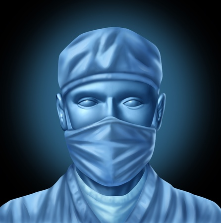 surgery concept: Medical surgeon doctor illustration with a blue surgical mask and hospital scrubs before an operation to save a life as a medical health care symbol. Stock Photo