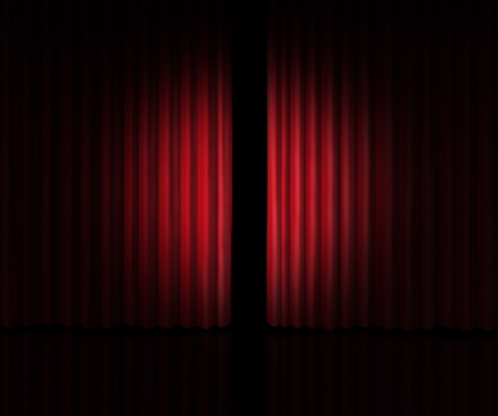 Behind The curtain sneak a peek into a new announcement on rumors of new products and movie performances at the theater or store opening with red velvet drapes that are slightly opened to look inside private information. Banco de Imagens