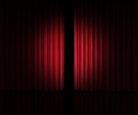 cortinas rojas: Detrás de la cortina de echar un vistazo a un nuevo anuncio sobre los rumores de nuevos productos y presentaciones de películas en el teatro o la apertura de la tienda con cortinas de terciopelo rojo que se abre ligeramente para mirar dentro de la información privada.