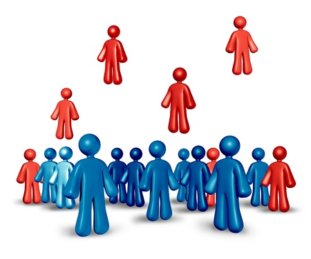 recruiting: Recruiting business people to build a strong team in staffing positions at companies with career job opportunities with blue human characters and red people rising up to show the winning candidates to the employment position.