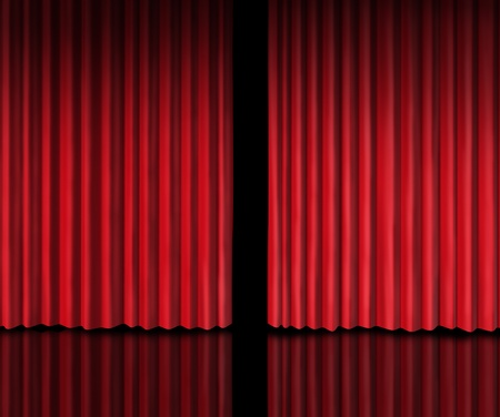 red stage curtain: Behind The curtain sneak a peek into a future announcement on rumors of new products and movie performances at the theater or store opening with red velvet drapes that are slightly opened to look inside private information. Stock Photo