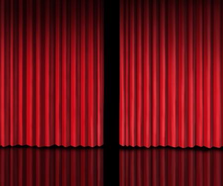 telon de teatro: Detrás de la cortina de echar un vistazo en un anuncio de futuros sobre los rumores de nuevos productos y presentaciones de películas en el teatro o la apertura de la tienda con cortinas de terciopelo rojo que se abre ligeramente para mirar dentro de la información privada. Foto de archivo