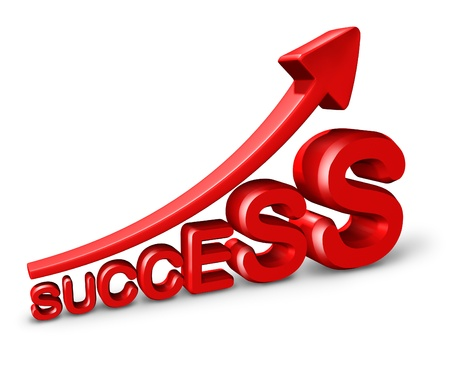 Success growth and marketing as a symbol of wealth and making money and financial profits with a red arrow and three dimensional text on a white background. photo