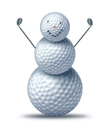 christmas golf: Winter golfing and holiday golf symbol represented by golf balls placed to look like a happy smiling snow man or snowman holding driver golf clubs showing winter holiday activities for seasonal sports leisure vacation at a resort.