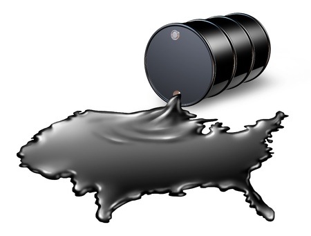 commodities: American Oil Industry with a black drum barrel pouring and spilling out fossil fuel liquid crude as a map of the United States showing the financial energy business concept of drilling and oil dependence by the US government and the political energy polic