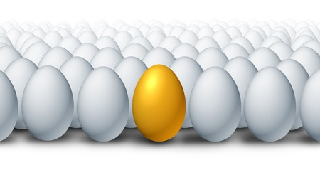 Best investment choice as a golden egg retirement savings different and better value with a competitive advantage of being a leader amongst otherfinancial business competitors. Stock Photo - 11840318