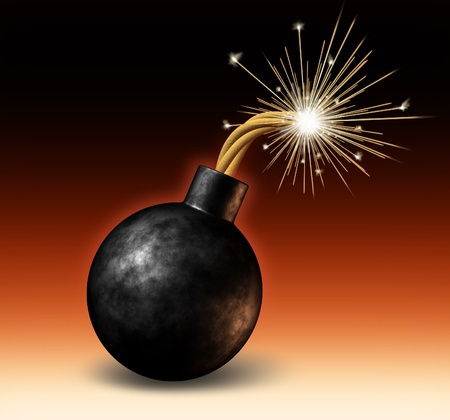 Exploding bomb with lit burning fuse with fire sparks fealing the heat as a dangerous warning of an urgent deadline with an impending explosion warning on a red and black background.