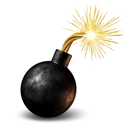 Bomb with lit burning fuse with fire sparks fealing the heat as a dangerous warning of an urgent deadline with an impending explosion warning on a white background.