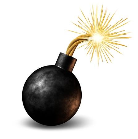 bombe: Bombe avec fusible br�le avec le feu allum� des �tincelles Fealing la chaleur comme un avertissement dangereuse d'un d�lai d'urgence avec un avertissement explosion imminente sur un fond blanc. Banque d'images