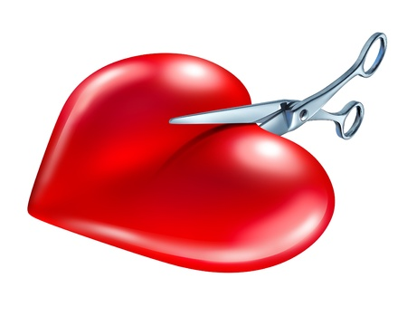 Breaking off  and break up symbol of couple in crisis ending a love relationship as a rejection and painful seperation of a romantic partnership as a red heart being cut in two pieces by scissors on a white background.