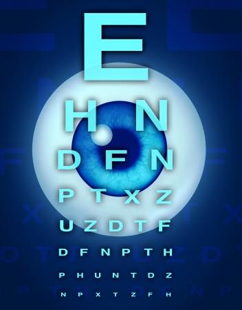 sight chart: Carta del ojo y el s�mbolo de la visi�n m�dica optometrista para el ojo humano y la cirug�a l�ser para eliminar las cataratas a partir de los problemas relacionados con la atenci�n a la vista. Foto de archivo