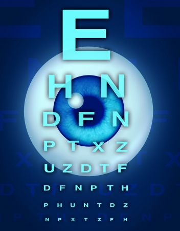 crystalline lens: Eye chart and vision medical optometrist symbol for the human eye and laser surgery to remove cataracts from age related focus sight problems.