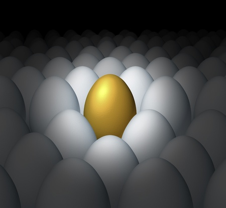 Financial planning success and best investment choice as a golden egg retirement savings different and better value with a competitive advantage of being a leader amongst other financial business competitors.