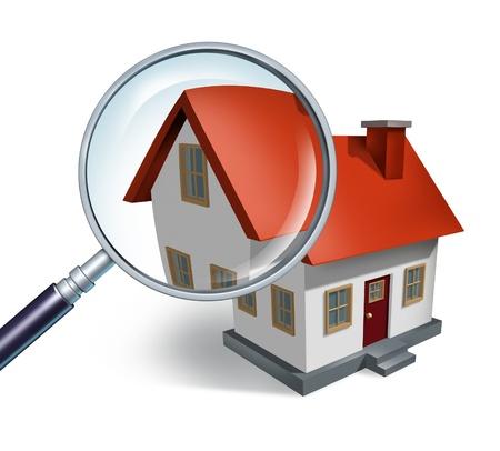 Huis jacht en op zoek naar vastgoed huizen te koop die moeten worden geïnspecteerd door een huis inspecteur concept als een vergrootglas de inspectie van een model enkel woningbouw structuur.