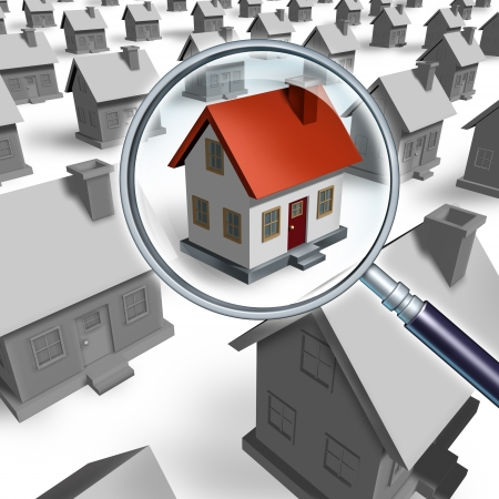 searching for: House search and house hunting for real estate in a good neighborhood for sale  that need to be inspected by a home inspector for quality control as a concept with a magnifying glass inspecting a model single home building structure.