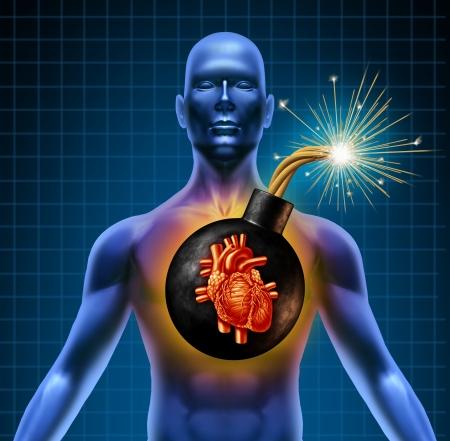 insuficiencia cardiaca: Ataque del coraz�n humano bomba de tiempo como un s�mbolo de los problemas urgentes de salud debido a los niveles de colesterol pobres y la mala dieta comer alimentos grasos basura grasosa.