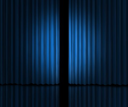 telon de teatro: Detrás de la cortina como una mirada en un nuevo anuncio sobre los rumores de nuevos productos y las películas o la apertura de la tienda con cortinas de terciopelo azul que se abre ligeramente para mirar dentro de la información privada.