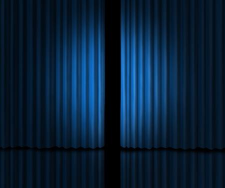 casting: Hinter dem Vorhang als ein Blick in eine neue Ansage auf Ger�chte �ber neue Produkte und Filme oder Markter�ffnung mit blauem Samt drapiert, die leicht ge�ffnet werden, um in privaten Informationen zu suchen.