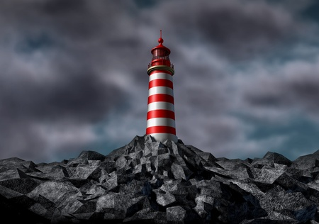 Lighthouse with dark storm clouds on a rock island for strategic guidance as a light house concept for security professional trust and advice and clear direction assistance in planning for a business or financial planning for investing consultation.
